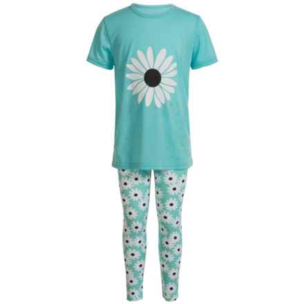Aegean Apparel Daisy Pajamas - Short Sleeve (For Little and Big Girls) in Mint - Closeouts