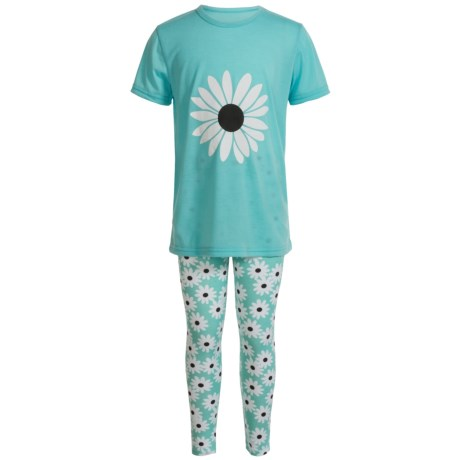 Aegean Apparel Daisy Pajamas - Short Sleeve (For Little and Big Girls) in Mint