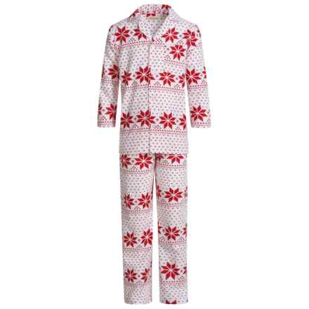 Aegean Apparel Flannel Pajamas - Long Sleeve (For Big Kids) in Red Multi - Closeouts