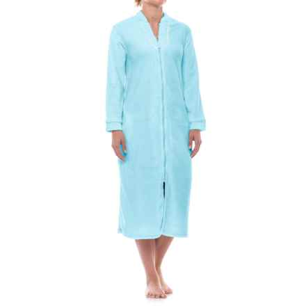 Aegean Apparel Plush Zip Robe - Long Sleeve (For Women) in Light Blue - Closeouts