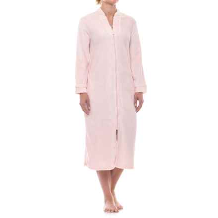Aegean Apparel Plush Zip Robe - Long Sleeve (For Women) in Light Pink - Closeouts
