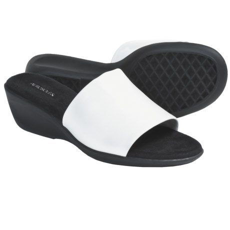 Aerosoles Badminton Slide Sandals - Wedge Heel (For Women) in White Pu