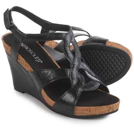 Aerosoles Fabuplush Wedge Sandals - Vegan Leather (For Women) in Black - Closeouts