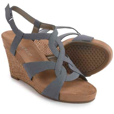 Aerosoles Fabuplush Wedge Sandals - Vegan Leather (For Women) in Blue - Closeouts