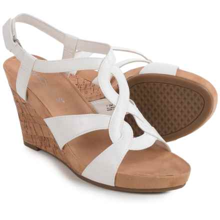 Aerosoles Fabuplush Wedge Sandals - Vegan Leather (For Women) in White - Closeouts