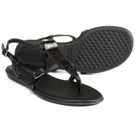 Aerosoles Flat Fashion Sandals (For Women) in Black Snake - Closeouts