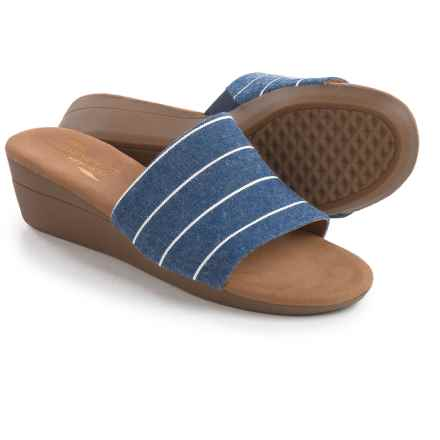 Aerosoles Florida Wedge Sandals - Vegan Leather (For Women) in Denim Stripe - Closeouts