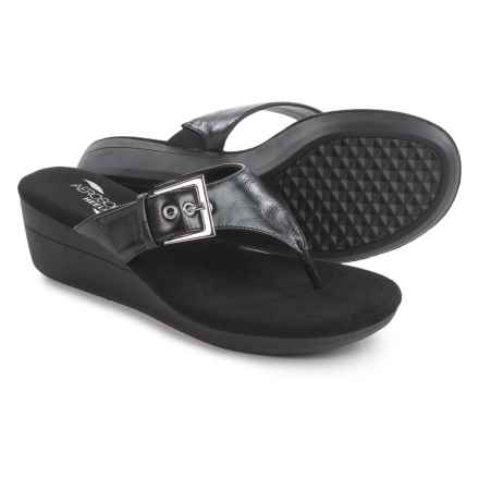 Aerosoles Flower Wedge Sandals - Vegan Leather (For Women) in Black - Closeouts