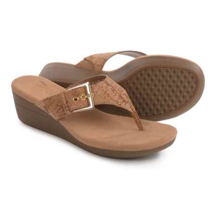 Aerosoles Flower Wedge Sandals - Vegan Leather (For Women) in Cork Combo - Closeouts