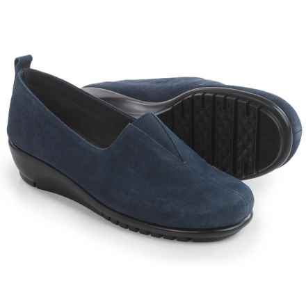 Aerosoles Friendship Wedge Shoes - Suede, Slip-Ons (For Women) in Dark Blue Suede - Closeouts