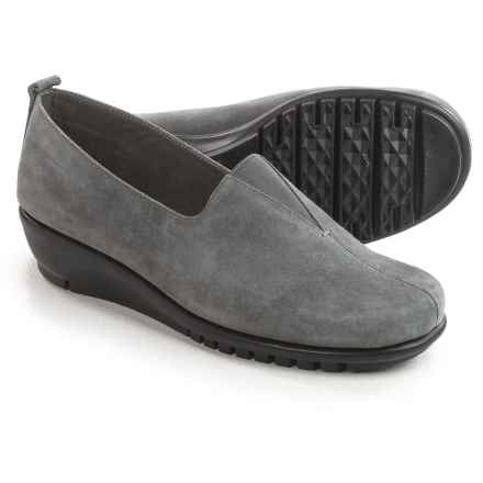 Aerosoles Friendship Wedge Shoes - Suede, Slip-Ons (For Women) in Dark Grey Suede - Closeouts