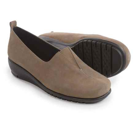 Aerosoles Friendship Wedge Shoes - Suede, Slip-Ons (For Women) in Taupe Suede - Closeouts