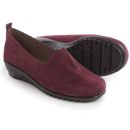 Aerosoles Friendship Wedge Shoes - Suede, Slip-Ons (For Women) in Wine Suede - Closeouts