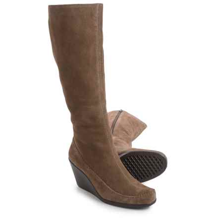 Aerosoles Gather Round Wedge Boots - Suede (For Women) in Mid Brown Suede - Closeouts
