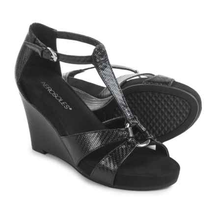 Aerosoles Plush Ahead Wedge Sandals - Vegan Leather (For Women) in Black - Closeouts