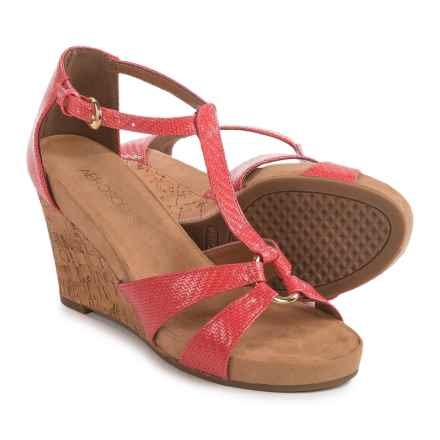 Aerosoles Plush Ahead Wedge Sandals - Vegan Leather (For Women) in Coral - Closeouts