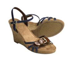 Aerosoles Plush Around Wedge Sandals (For Women) in Denim Combo - Closeouts