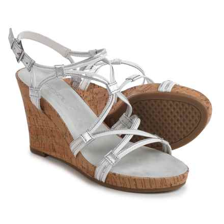 Aerosoles Real Plush Wedge Sandals - Leather (For Women) in White Combo - Closeouts