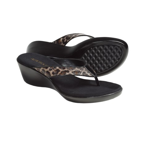 Aerosoles Wide Eyes Wedge Thong Sandals (For Women) in Leopard Combo