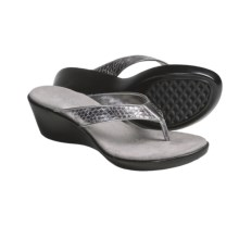 Aerosoles Wide Eyes Wedge Thong Sandals (For Women) in Silver Combo - Closeouts