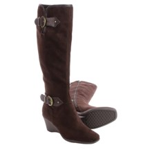 Aerosoles Wonderful Wedge Boots - Suede (For Women) in Brown Fabric - Closeouts