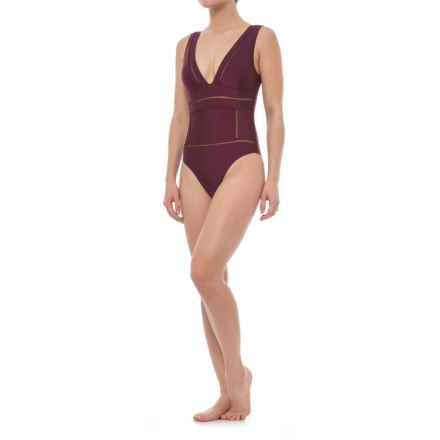 Afriel and Tabbris Veronica One-Piece Swimsuit - Padded Cups (For Women) in Metallic Burgundy - Closeouts