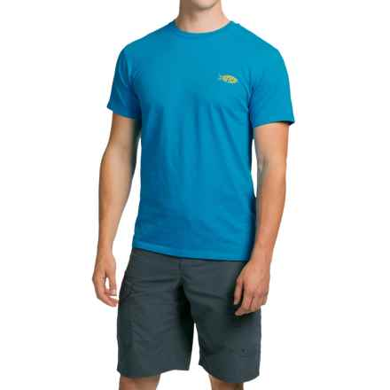AFTCO Eat More Fish T-Shirt - Short Sleeve (For Men) in Turquoise Heather - Closeouts