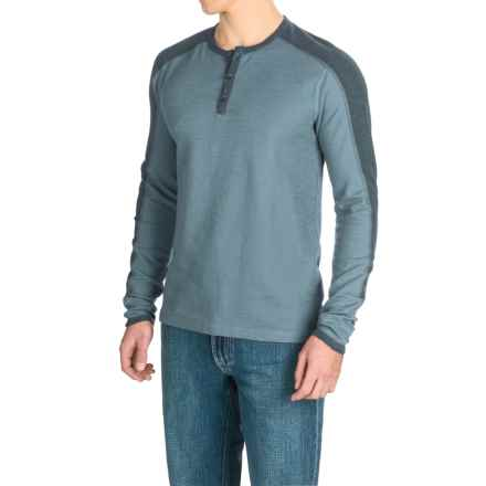 Agave Calico Henley Shirt - Long Sleeve (For Men) in China Blue (Agave) - Closeouts