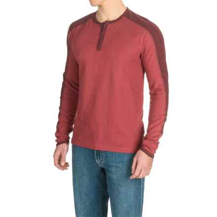 Agave Calico Henley Shirt - Long Sleeve (For Men) in Rosewood (Agave) - Closeouts