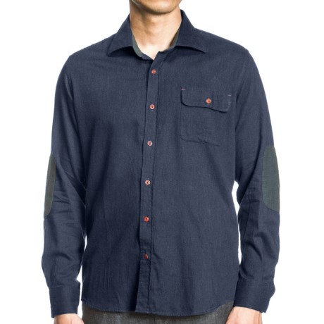 Agave Denim 1940 CPO Shirt - Melange Cotton, Long Sleeve (For Men) in Navy