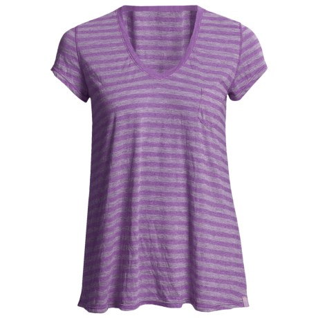 Agave Denim Cortese Boyfriend Shirt - Stripe, V-Neck, Short Sleeve (For Women) in Royal Purple