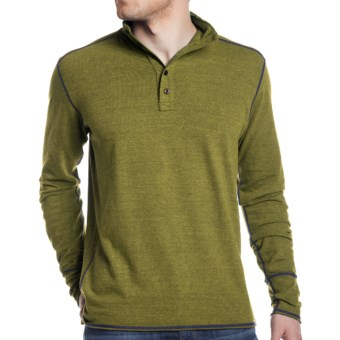 Agave Denim Crows Nest Button Mock Polo Shirt - Long Sleeve (For Men) in Citronelle