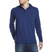 Agave Denim Crows Nest Button Mock Polo Shirt - Long Sleeve (For Men) in Dazzling Blue - Closeouts