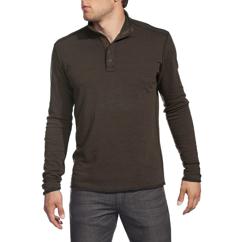 Agave denim cuyama pullover shirt brushed jersey mock for Mens long sleeve pullover shirts