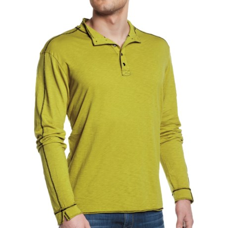Agave Denim Greenwater Deconstucted Button Mock Shirt - Supima® Cotton, Long Sleeve (For Men) in Citronelle