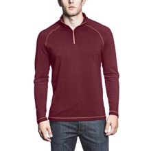 Agave Denim Palisades Shirt - Supima® Cotton, Zip Mock Neck, Long Sleeve (For Men) in Burgundy - Closeouts