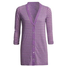 Agave Denim Steen Striped Cardigan Sweater - Tunic-Length, 3/4 Shirred Sleeve (For Women) in Royal Purple - Closeouts