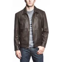 Agave High Voltage Lamb Leather Coat (For Men) in Dark Brown - Closeouts
