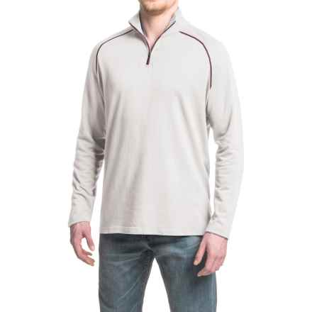 Agave Mock Baby Terry Shirt - Cotton-Modal, Zip Neck, Long Sleeve (For Men) in Nimbus Cloud - Closeouts