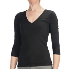 Agave Nectar Beatriz Shirt - Stretch Supima® Cotton-TENCEL® Jersey, 3/4 Sleeve (For Women) in Stretch Limo - Closeouts