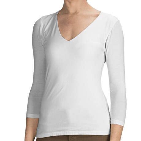Agave Nectar Beatriz Shirt - Stretch Supima® Cotton-TENCEL® Jersey, 3/4 Sleeve (For Women) in White