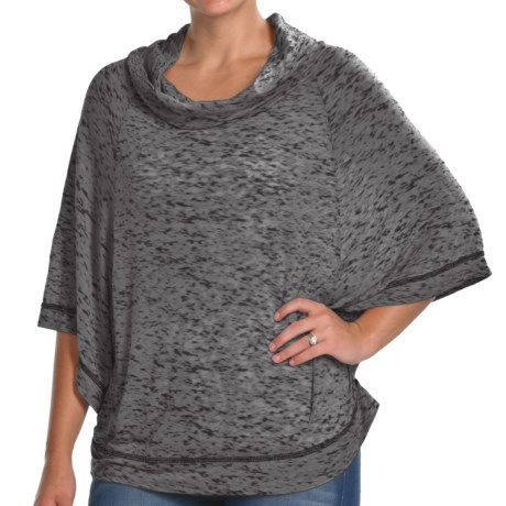 Agave Nectar Cinsaut Poncho - Cowl Neck, 3/4 Sleeve (For Women) in Black