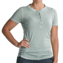 Agave Nectar Daisy Henley Shirt - Supima-Micromodal®, Short Sleeve (For Women) in Blue Haze - Closeouts