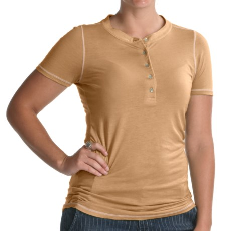 Agave Nectar Daisy Henley Shirt - Supima-Micromodal®, Short Sleeve (For Women) in Taos Taupe