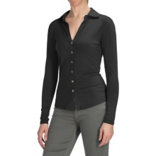 Agave Nectar Inez Shirt - Stretch Supima® Cotton-TENCEL® Jersey, Long Sleeve (For Women) in Stretch Limo - Closeouts
