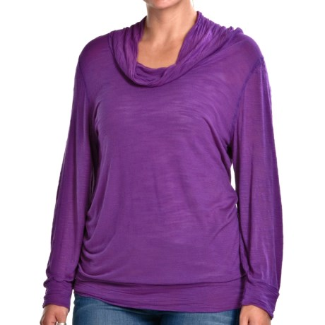 Agave Nectar Palomino Cowl Neck Shirt - Long Sleeve (For Women) in Royal Purple