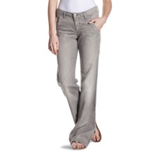 Agave Nectar Patrona Relaxed Fit Trouser Jeans - Flared Leg, Cotton-Linen (For Women) in Pearl N Sea - Closeouts