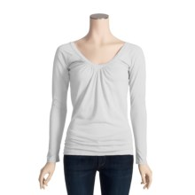 Agave Nectar Pinot Shirt - Gathered V-Neck, Long Sleeve (For Women) in White - Closeouts
