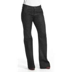 Agave Nectar Sol Mauna Kea Jeans - Stretch Trouser Fit, Flare Leg (For Women) in Black Herringbone