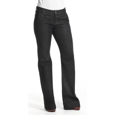 Agave Nectar Sol Mauna Kea Jeans - Stretch Trouser Fit, Flare Leg (For Women) in Black Herringbone